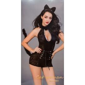 Игривый костюм кошечки с ушками и хвостиком