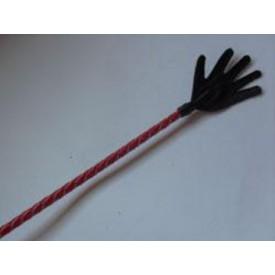 Длинный плетённый стек с наконечником-ладошкой и красной рукоятью - 85 см.